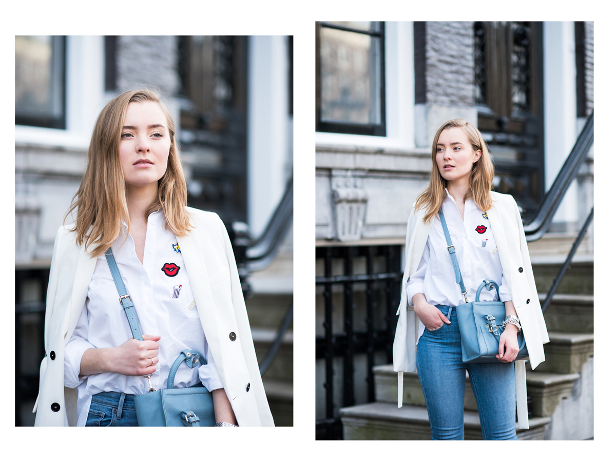 Patches blouse zara, jeans, Miss Confidential, Emilie de la Court, Amsterdam