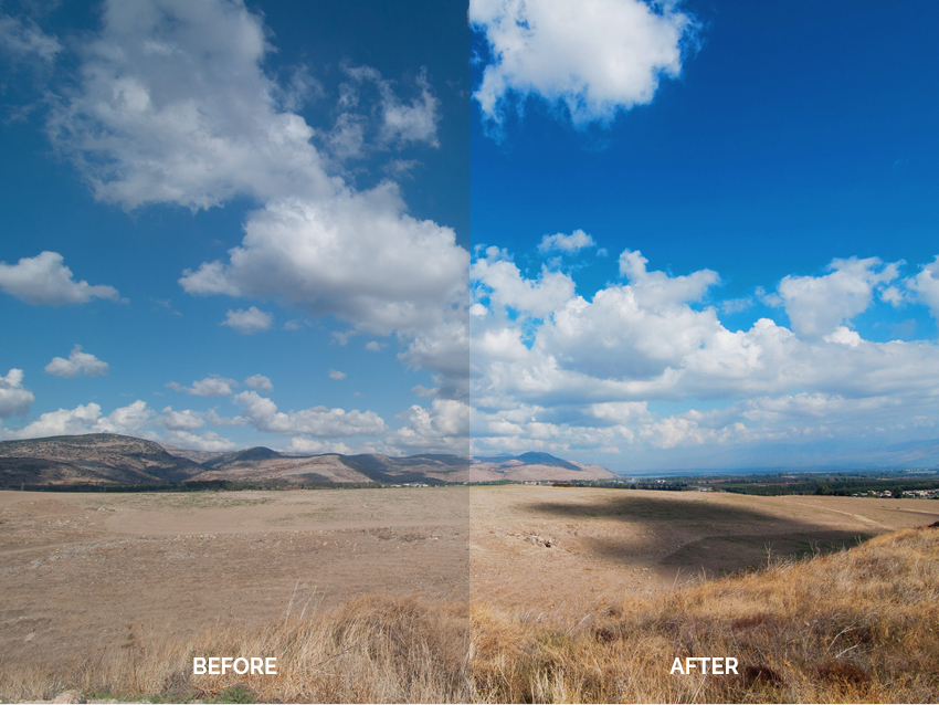 Before after enhancing blue skies