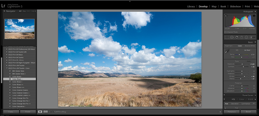 Enhance blue skies in Lightroom