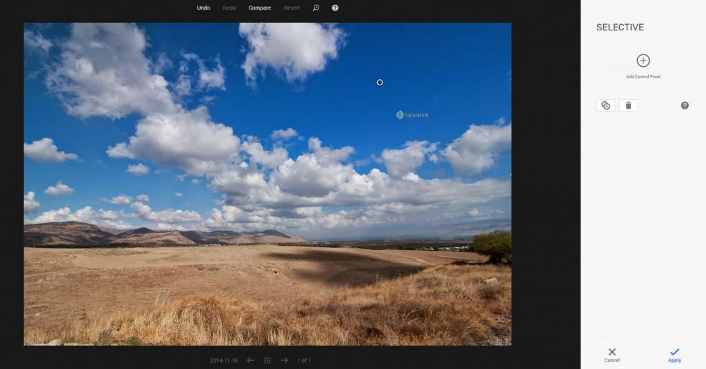Saturation in Google plus photo editor