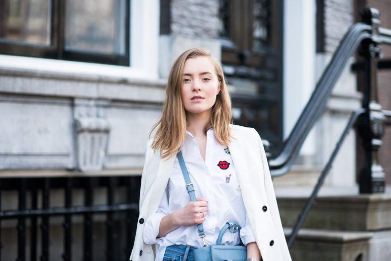 Patches blouse zara, jeans, Miss Confidential, Emilie de la Court, Amsterdam