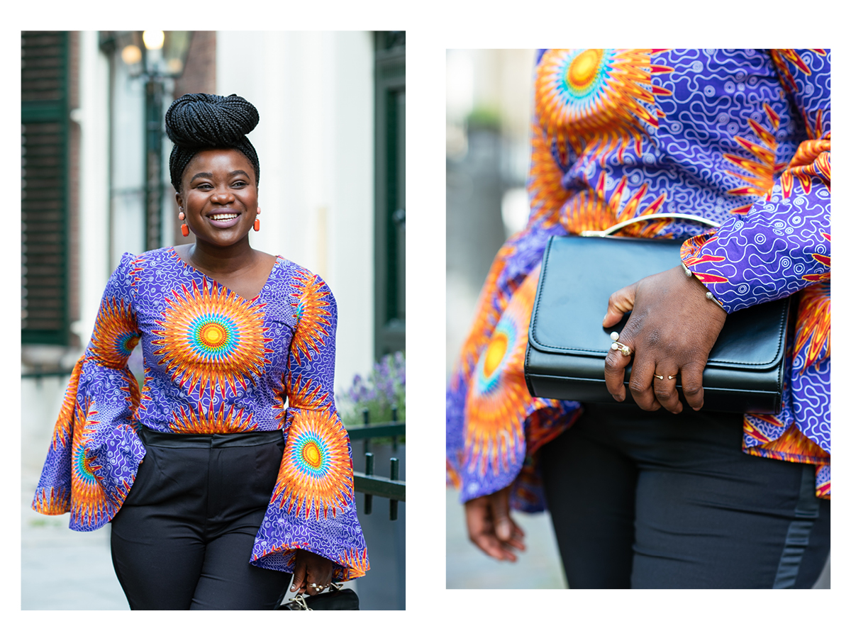 Colorful african top, fashion blogger